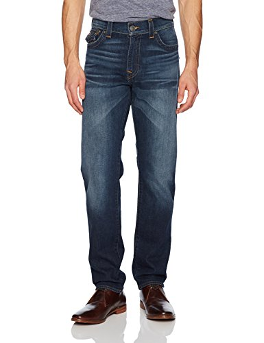 True Religion Men's Geno Slim Straight Jeans and Back Flap Pockets, Blue Cascade, 29