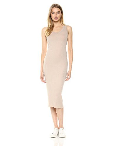 Enza Costa Women's Rib Sleeveless Bold Tank Midi Dress, Almond Milk, M