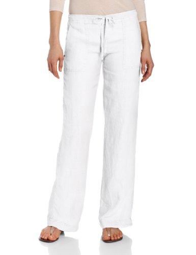 Michael Stars Women's Linen Wide Leg Pant, White, M