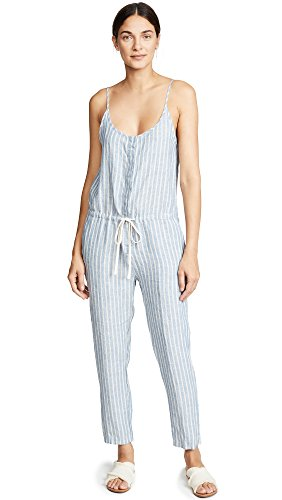 Enza Costa Women's Linen Strappy Jumpsuit, Engineer Stripe, 2
