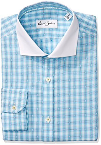 "Robert Graham Men's Classic Fit Check Dot Dress Shirt, Aqua, 18"" Neck 36.5"" Sleeve"