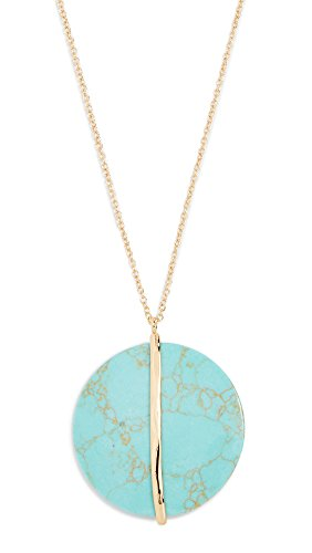Gorjana Women's Brinn Pendant Adjustable Necklace, Green Turquoise/Yellow Gold, One Size