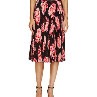 Kate Spade Womens Floral Print Mid-Calf Pleated Skirt Black 8