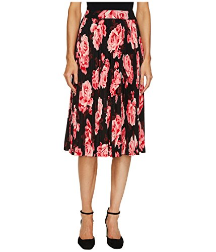 Kate Spade Womens Floral Print Mid-Calf Pleated Skirt Black 8