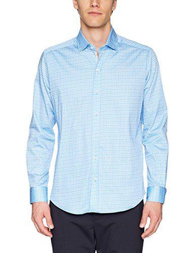 Robert Graham Men's Laredo Long Sleeve Slim Fit Shirt, Blue, Medium