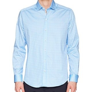 Robert Graham Men's Laredo Long Sleeve Slim Fit Shirt, Blue, Medium