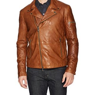 John Varvatos Men's Leather Moto Jacket with Asymmetrical Zip Closure, Antique, X-Large