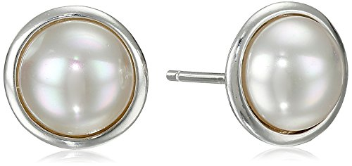 Majorica Bezel Set Mabe Pearl Sterling Silver Stud Earrings