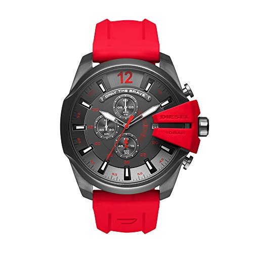 Diesel Men's Mega Chief Quartz Stainless Steel and Silicone Chronograph Watch, Color Grey, Red (Model: DZ4427)