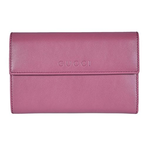 07e04b8a3e6 Gucci Women s Leather French Flap Wallet Dark Rose Pink Clout Wear ...