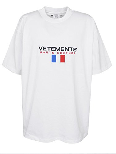 CraveLook Men's Haute Couture Logo Short Sleeve T-Shirt Streetwear (White)
