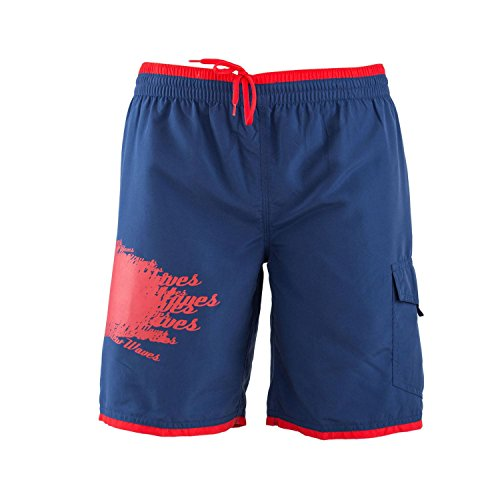 Just Cavalli Men Navy & Red Long Board Swim Shorts Side Pockets Trunks Swimsuit XL US EU 54