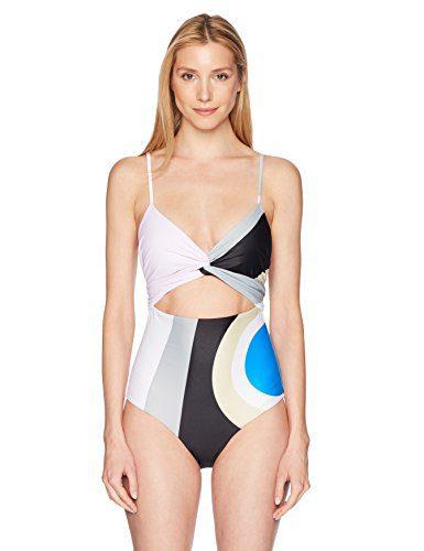 Mara Hoffman Women's Isolde Wrap Once Piece Swimsuit, Juniper Pastel Sage/Multi, Medium