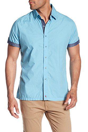 Robert Graham Men's Monkey Tail 2 Short Denim Sleeve Classic Fit Shirt (Medium, Teal)
