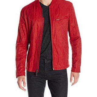 John Varvatos Men's Racer Jacket with Rib Collar, Cherry, X-Large