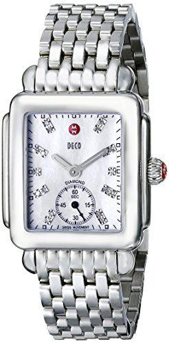 MICHELE Women's Deco 16 Analog Display Swiss Quartz Silver Watch