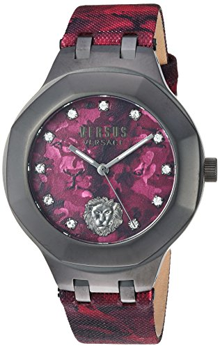 Versus by Versace Men's 'Laguna City' Quartz Stainless Steel and Leather Casual Watch, Color: Red