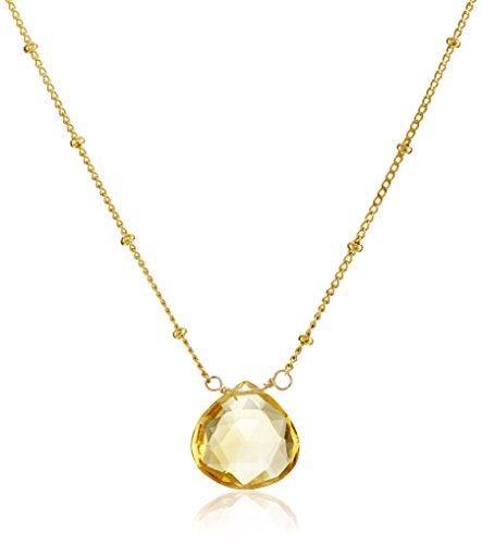 Satya Jewelry Gold Citrine Drop Pendant Necklace (18-Inch)