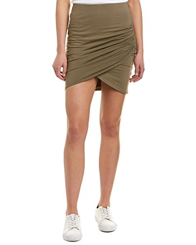 Michael Stars Women's Cotton Lycra Cross Front Mini Skirt, Olive Moss, Medium
