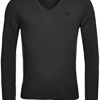 Versace Collection Black Wool V-neck Sweater (XL)