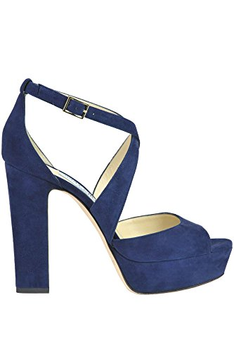 JIMMY CHOO Women's Mcglcate Blue Suede Sandals
