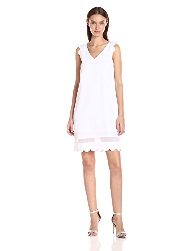 A|X Armani Exchange Women's Scallop Sleeveless Shift Dress, White, 8