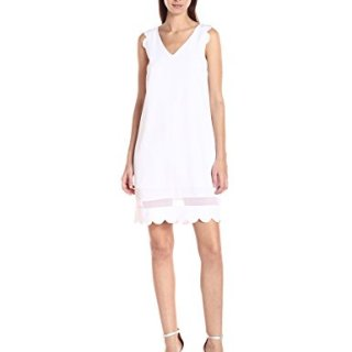 A|X Armani Exchange Women's Scallop Sleeveless Shift Dress, White, 8