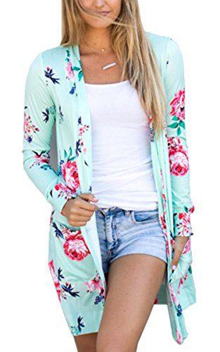 ECOWISH Womens Boho Irregular Long Sleeve Wrap Kimono Cardigans Casual Coverup Coat Tops Outwear Green2 M