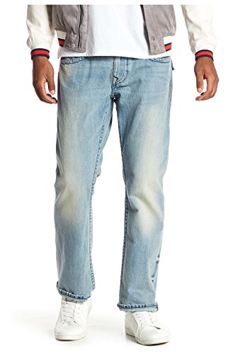 True Religion Men's Straight Leg Relaxed Fit Midnight Stitch Jeans w/Flaps In Rodeo Affair (36)