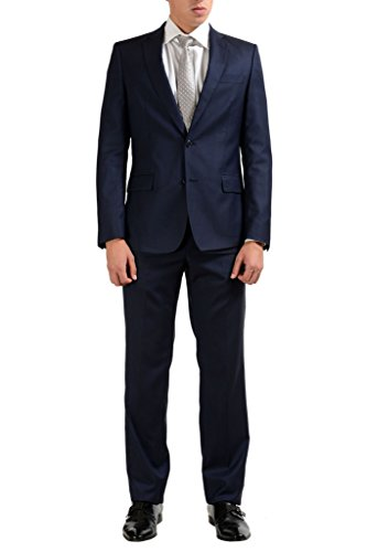 Versace Collection 100% Wool Navy Two Button Men's Suit US 38 IT 48;