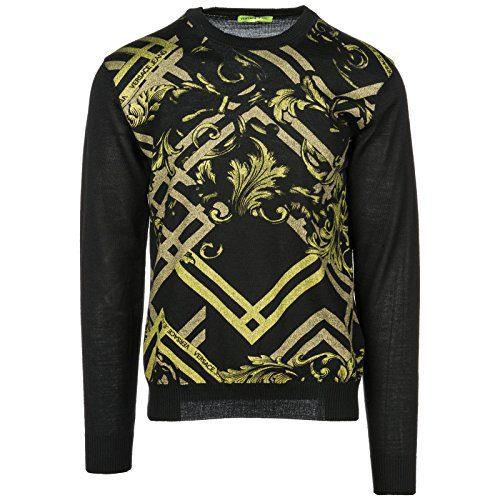 Versace Jeans Men's Crew Neck Neckline Jumper Sweater Pullover Black US Size M (US M)