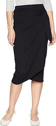Michael Stars Women's Cotton Modal Faux Wrap Skirt Black X-Small