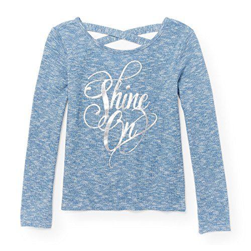 The Children's Place Big Girls' Crossback Graphic Sweater Knit, Tranqilblu, S (5/6)