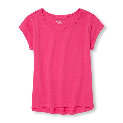 The Children's Place Big Girls' Short Sleeve Solid Layering Top, Sweet Princess, M (7/8)
