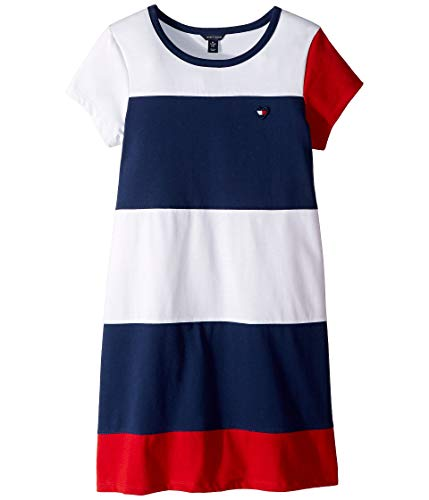 Tommy Hilfiger Big Girls' Colorblocked Dress, Jersey Flag Blue, Extra Large 16