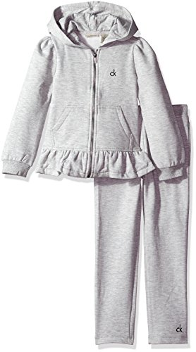Calvin Klein Little Girls' Fleece Zip Front with Pockets Jacket and Pants Set, Grey, 4