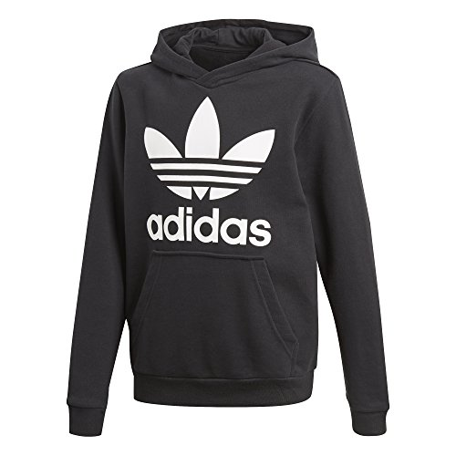 adidas Originals Big Kids Originals Trefoil Hoodie, Black/White, M