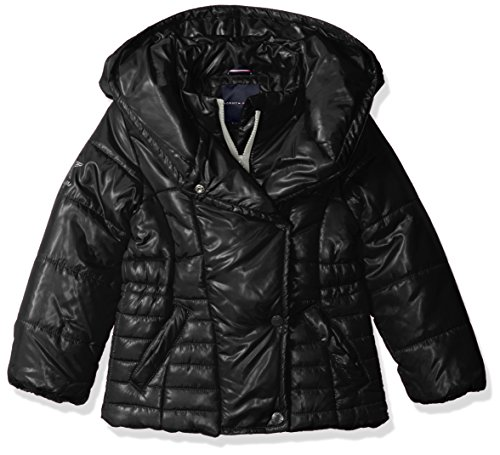 Tommy Hilfiger Big Girls' Pillow Collar Promo Puffer Jacket with Belt, Black, Medium/8/10