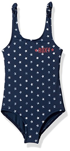 Roxy Little Girls' Surfing USA One Piece Swimuit, Dress Blue 4TH of July Stars, 4