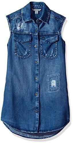 Calvin Klein Toddler Girls' Lyocell Denim Shirtdress, Destruct, 4T