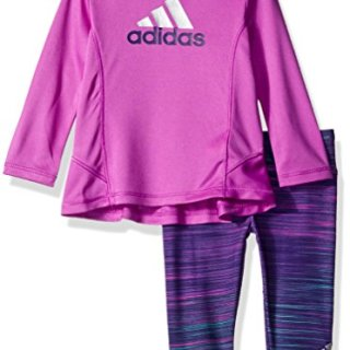 adidas Baby Girls' Long Sleeve Top and Legging Set, Shock Purple, 3 Months