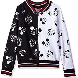 Disney Big Girls' Minnie Mouse Bomber Jacket, Black/White, 10
