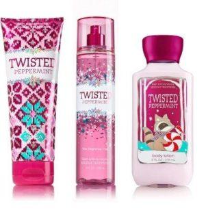 Bath & Body Works Twisted Peppermint Trio Gift Set ~ Fragrance Mist ~ Body Cream & Body Lotion Full Size