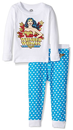 Intimo Toddler Girl's Classic Wonder Pajama Set Sleepwear, white, 4T