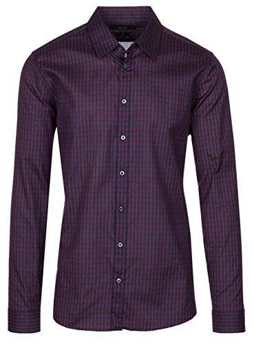 Gucci Men's Burgundy Horsebit Print Slim Fit Button Down Dress Shirt, Burgundy, 17