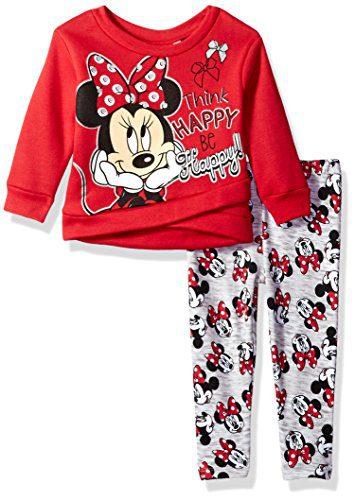 Disney Girls' Minnie Mouse 2-Piece Fleece Legging Set, Minnie Red, 18M