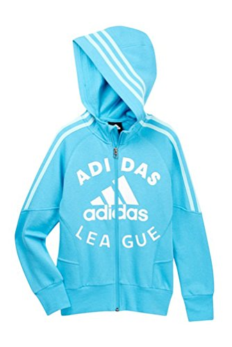 adidas Big Girls' League Zip Hoodie, Blue, Small