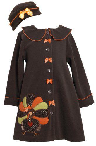 Bonnie Jean Girls Turkey Thanksgiving Fall Winter Coat & Hat Brown, 7