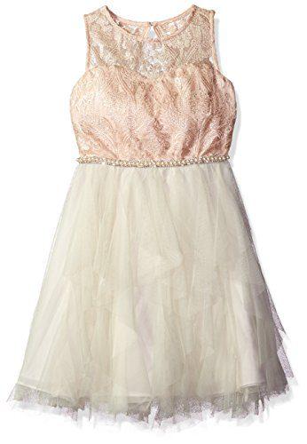 Rare Editions Big Girls' Cascade Special Dress, Special Pink/Ivory,10