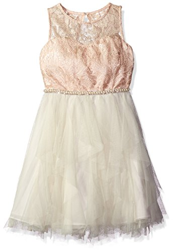 Rare Editions Big Girls' Cascade Special Dress, Special Pink/Ivory,10